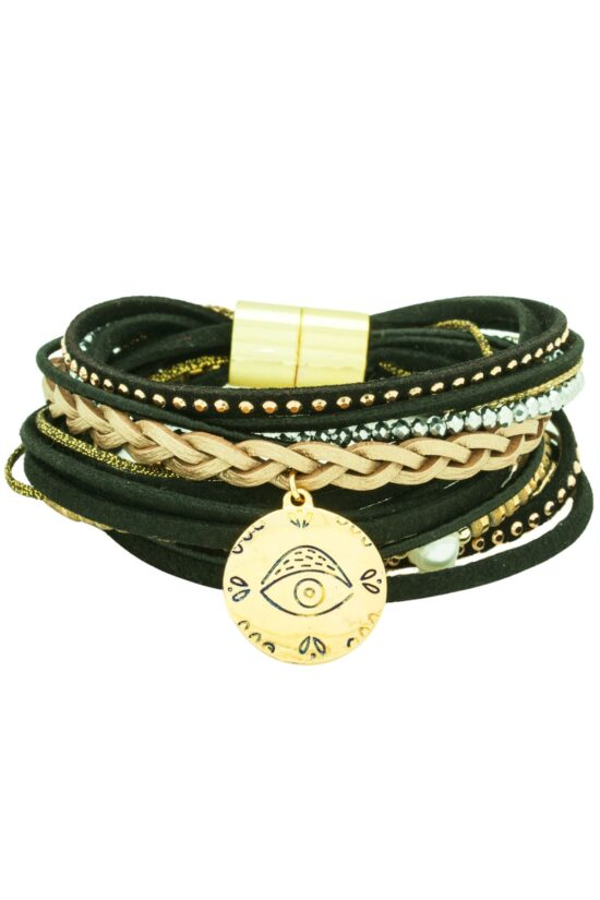 multiseries bracelet with evil eye and pearl