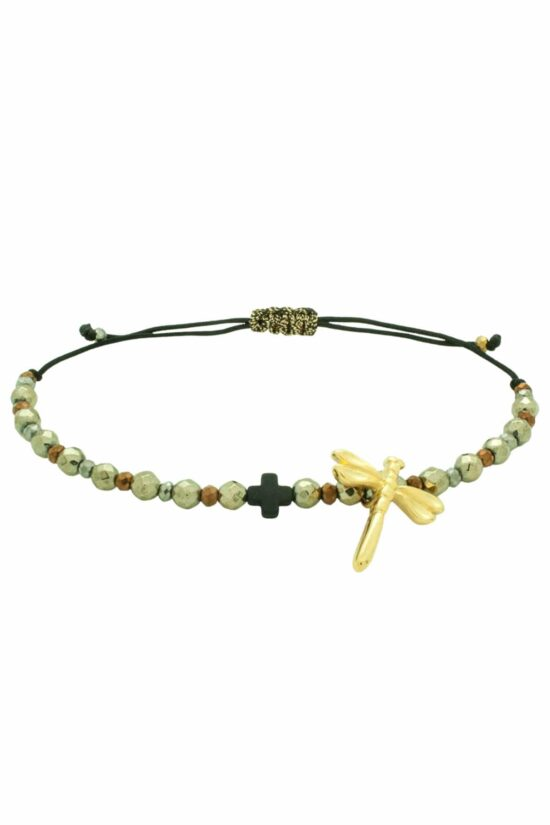 bracelet with dragonfly and cross