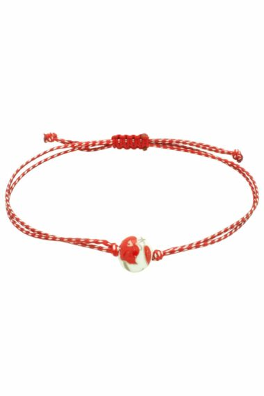 bracelet for March with white bead with red roses