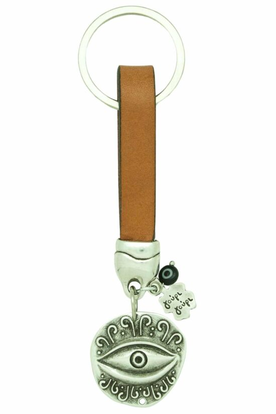 beige leather keyring with evil eye