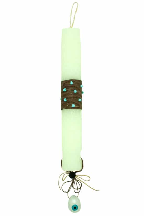 Easter candle with turquoise Easter egg necklace