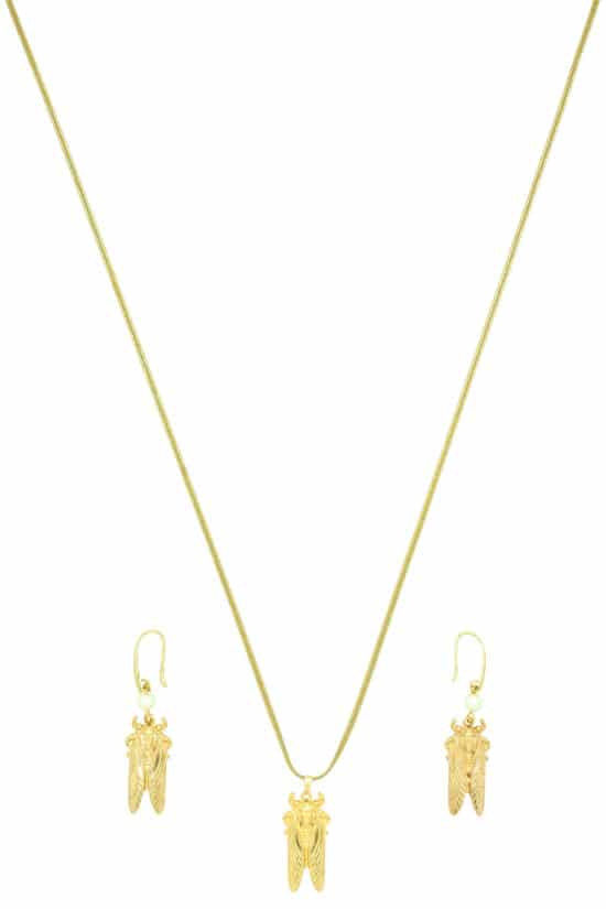summer necklace and earrings with gold-plated cicada