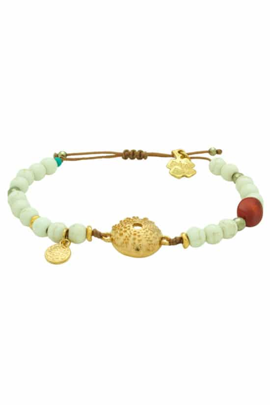 bracelet with gold-plated sea urchin shell