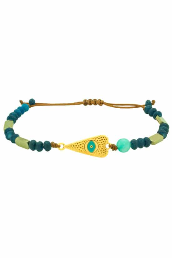 turquoise bracelet with gold plated heart
