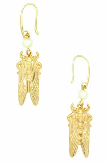 earrings with gold-plated cicadas