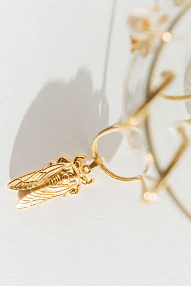 summer necklace with gold-plated cicada