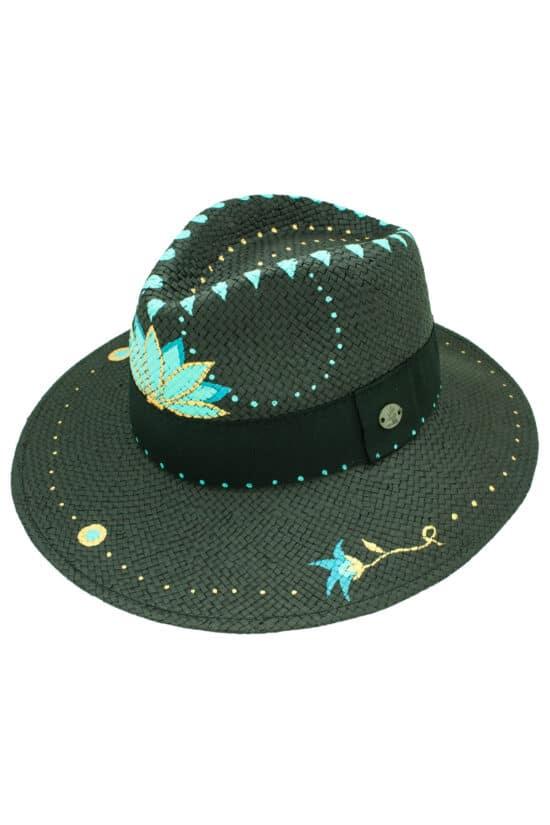 Panama style, summer straw hat, black, hand drawn