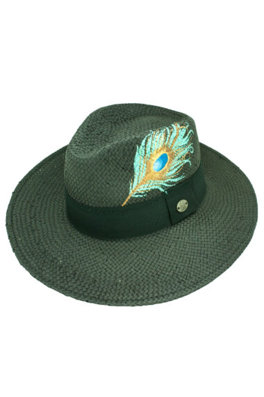 black, Panama style, summer straw hat with peacock feather
