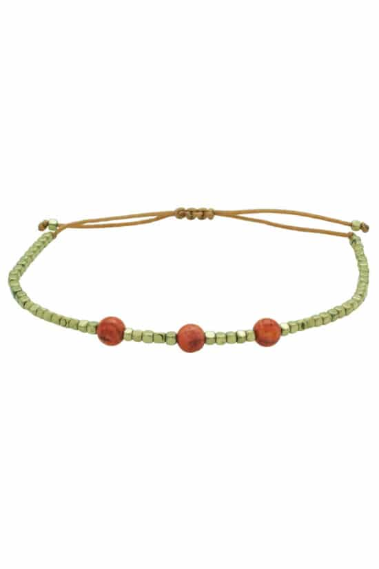 bracelet with three red coral beads