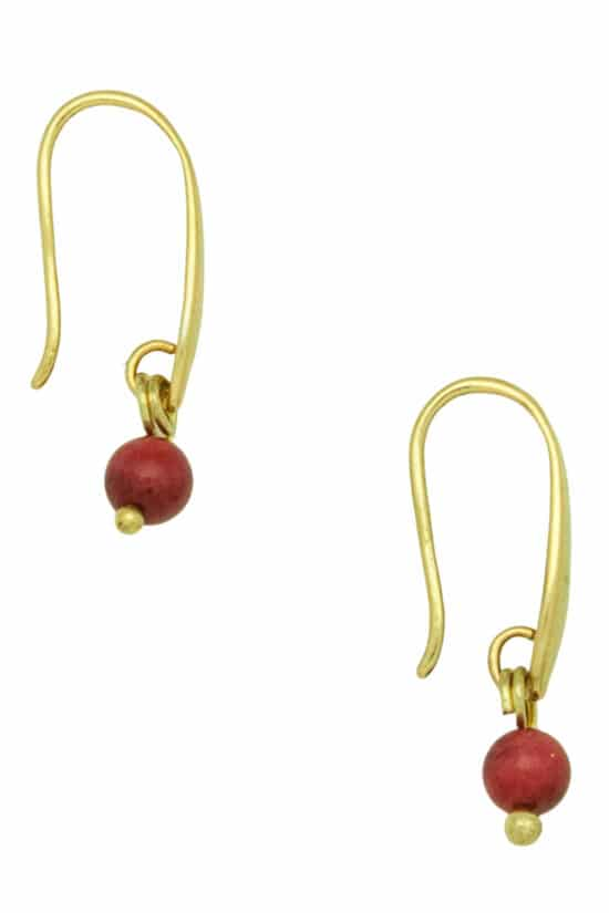 summer gold-plated earrings with red coral bead