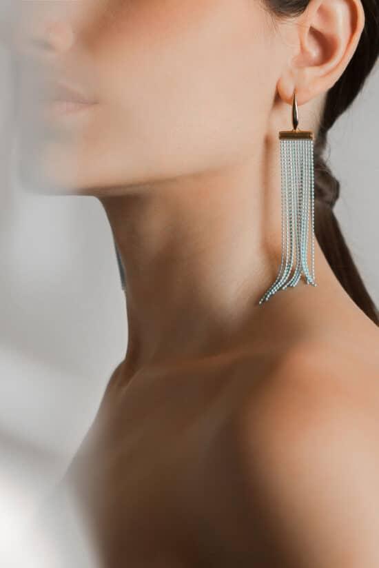 light-blue long rose gold earrings