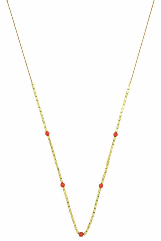 summer necklace with red coral beads