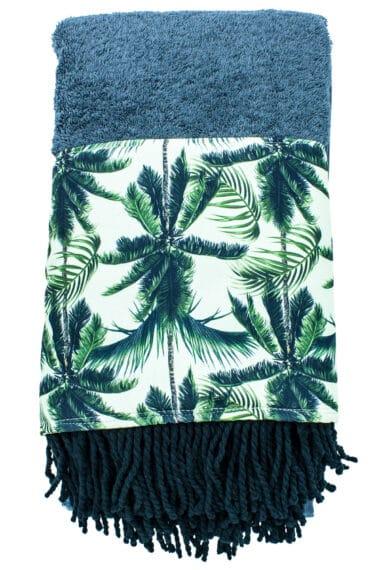 grey beach towel with palm trees