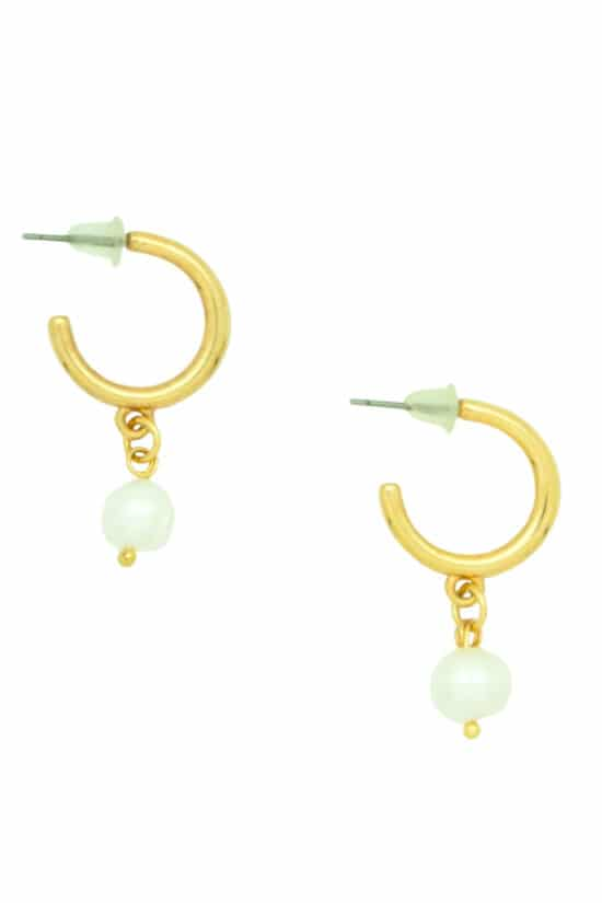 small gold-plated rings with white pearl