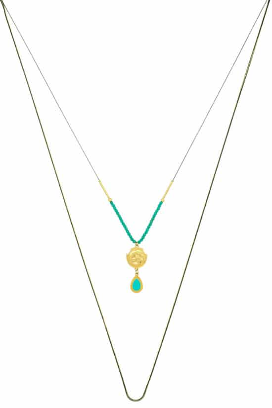 long double necklace with gold-plated pendants